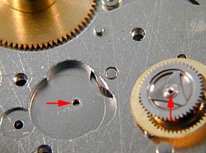 ETA 7750 Отверстие часового колеса